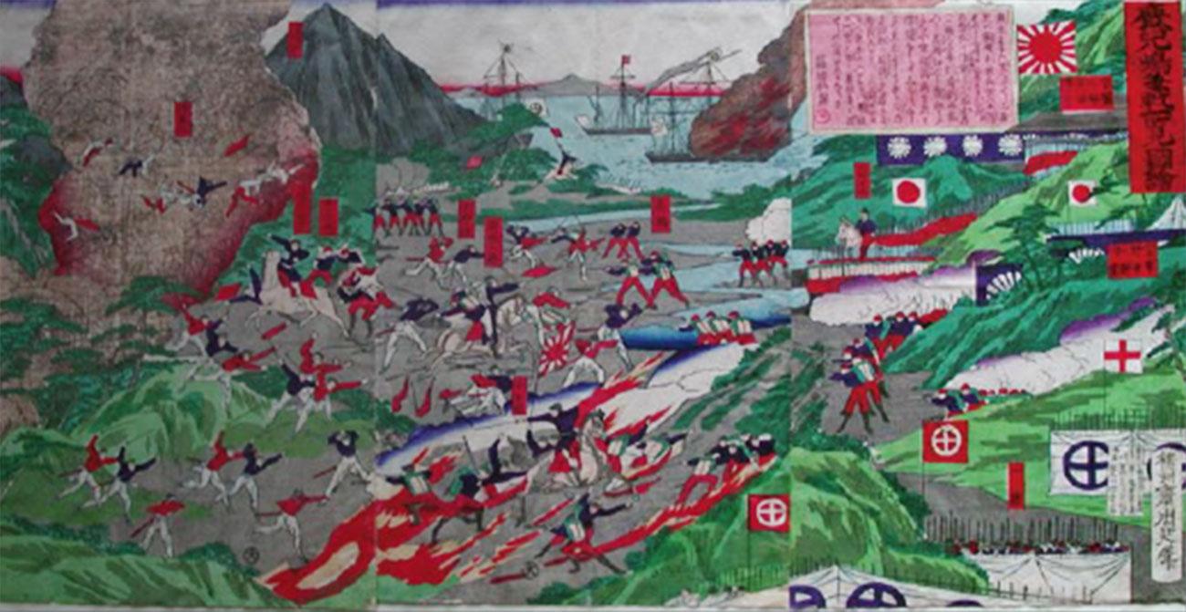 戦火の中の赤十字旗(正念寺蔵)