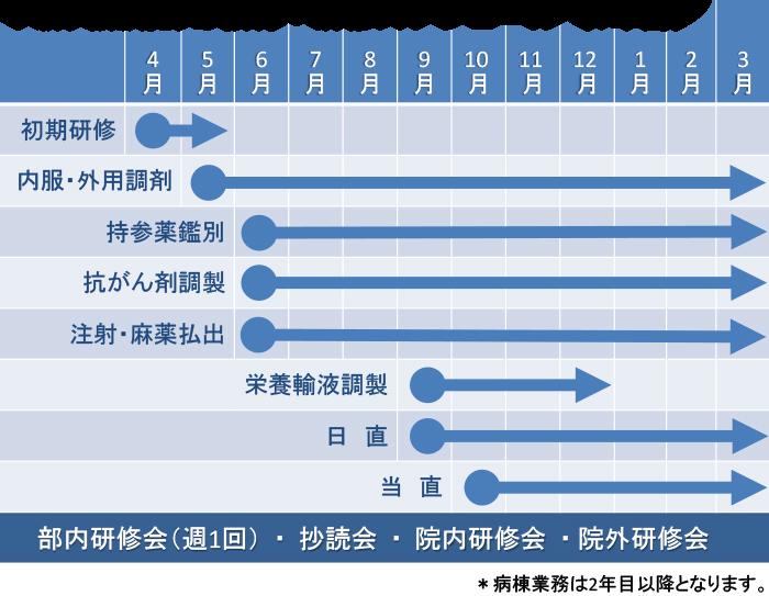 新人薬剤師の教育・研修スケジュール(1年間)